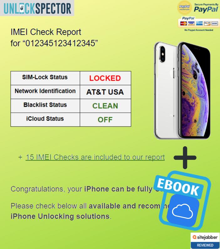 Full iPhone IMEI Check sample