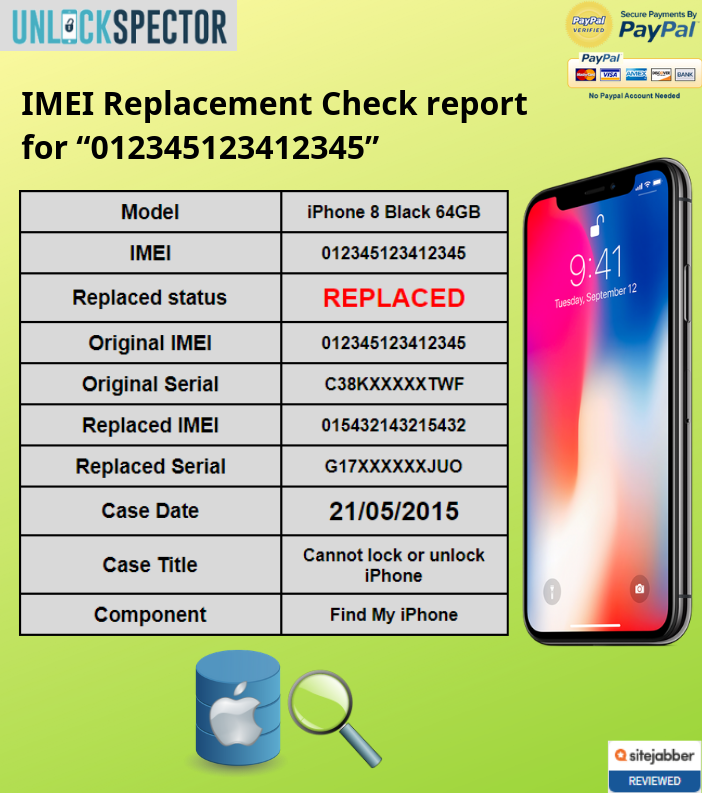 IMEI Replacement Check sample report