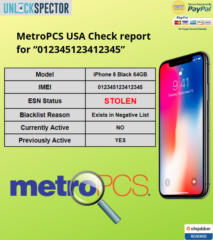 MetroPCS USA Check sample report