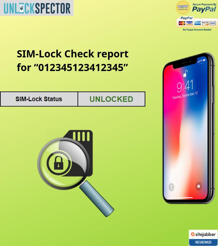 SIM lock check sample report