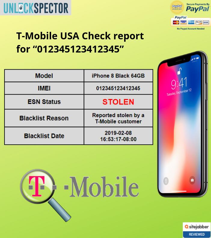 T-Mobile USA Check sample report