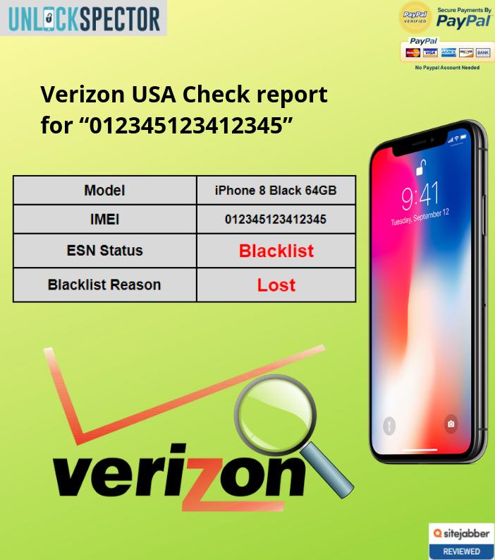 Verizon USA Check sample report